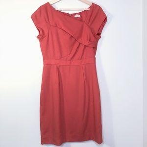 J. Crew Red Asymmetrical Neckline Cocktail Dress